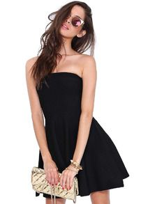 Black Strapless Backless Flouncing Dress