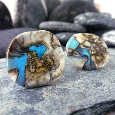 turquoise & stone effect, large lampwork glass stud earrings handmade by www.MaidofGlass.co.uk