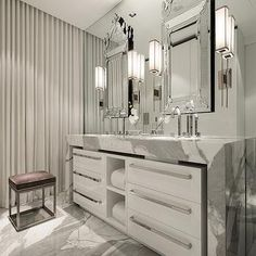 Marble Waterfall Countertop, Contemporary, bathroom, Michael Dawkins Home