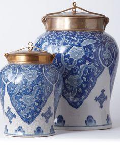 Blue and White Jar with Bronze Lid - Large - Jars Bottles Domes - Jars