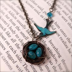 Birds Nest Necklace  Real Turquoise  Antique by creativityismessy, $28.00
