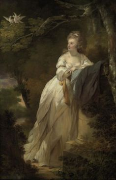 Portrait of a lady, full-length, in a white dress, leaning on a pedestal by a tree with two doves. Ozias Humphry, R.A. (Honiton 1742-1810 London).
