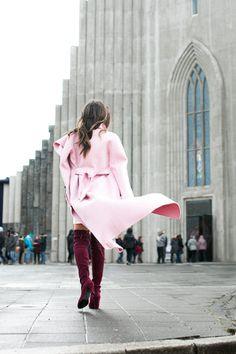 Pretty Pinks :: Wrap coat & Travel essentials :: Outfit ::  Top :: Mackage coat | Baja East sweater dress (Splendid top underneath) Shoes :: Stuart Weitzman Bag :: Botkier Accessories :: Karen Walker sunglasses | Sole Society scarf | Biossance travel skincare set Published: February 8, 2017
