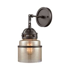 Gramercy 1 Light Wall Sconce in Oil Rubbed Bronze with Mercury Glass ELK Dimensions: X X Usage: Indoor Lighting Material: Glass, Metal Primary Color: Black Style: Transitional LTL:No Bulb 1 Included: No Safety Rating: UL UPC: 748119112770 Elk Lighting, Wall Sconce Lighting, Outdoor Lighting, Wall Sconces, Fireplace Lighting, House Lighting, Wall Lamps, Outdoor Wall Sconce, Cool Floor Lamps