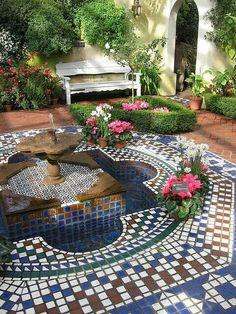 Moorish Garden Fountain 2 by jwinterscom, Mediterranean Style mosiac patio Outdoor Rooms, Outdoor Gardens, Outdoor Living, Outdoor Patios, Outdoor Kitchens, Dream Garden, Home And Garden, Moroccan Garden, Boho Glam Home