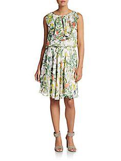 Betsey Johnson - Floral Print Keyhole Blouson Dress
