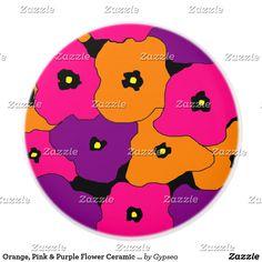 Orange, Pink & Purple Flower Ceramic Knob