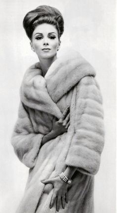 Wilhelmina Cooper in Mink Fur Coat
