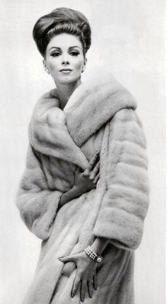 Wilhelmina Cooper in Mink Fur Coat