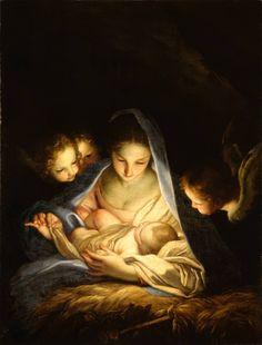 The Holy Night (The Nativity) / La Noche Santa (La Natividad) // 1650s // Carlo Maratti // Gemäldegalerie, Dresden // #Jesus #Christ #VirginMary #Christmas #Navidad