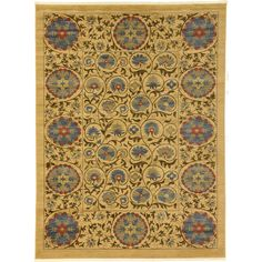 Unique Heritage Tan and Blue Floral Transitional Area Rug (9' x 12'), Size 9' x 12'