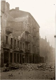 Ruins in the Warsaw ghetto after the suppression of the uprising by the SS