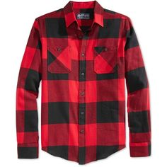 American Rag Frosty Flannel Shirt ($15) ❤ liked on Polyvore featuring men's fashion, men's clothing, men's shirts, men's casual shirts and all star red