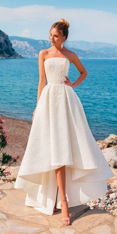 Top 24 High Low Wedding Dresses ❤ high low wedding dresses lace strapless neckline trendy fashion kookla ❤ See more: http://www.weddingforward.com/high-low-wedding-dresses/ #weddingforward #wedding #bride #bridalgown