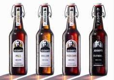 Die JOSEFS-Biere gibt es in den vier Sorten Pils, Märzen, Keller und Dunkel. Beer Bottle, Packaging, Drinks, Non Alcoholic Beverages, Brewery, Dark, Basement, Beer, Products