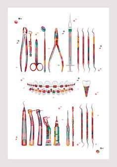 Teeth Art Dentist Tools Print Anatomy Art Dental Instruments Orthodontics Poster Dental Surgery Watercolor Mirror Sickle Probe Braces Print is part of braids - The FRAMED VERSION is Dental Braces, Dental Surgery, Dental Implants, Dental Logo, Dental Art, Dental Meme, Dental Assistant, Dental Hygienist, Dental Wallpaper