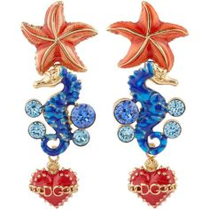 Dolce & Gabbana Undersea Embellished Earrings (4.340 NOK) ❤ liked on Polyvore featuring jewelry, earrings, heart jewelry, anchor jewelry, starfish earrings, costume jewellery and anchor earrings