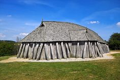 Fyrkat viking house. Reconstructed viking long house at Fyrkat (outside Hobro), North Jutland, Denmark.