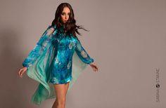 Silk Satin Mini Dress With Draped Low Scoop Open Back by Sabina Stanne #Blue #Turquoise #SilkChiffon  www.sabinastanne.com