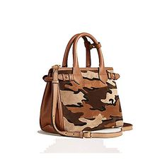Tote Bag Handbag Authentic Burberry The Small Banner in Camouflage Suede  Tan Item 39906841 Made in Italy cc90b5177f613