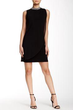 Adrianna Papell | Sleeveless Necklace Drape Front Sheath Dress | Nordstrom Rack