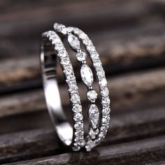 Solid White Gold Diamond or Moissanite Wedding Band 10K/14K/18K Gold Stacking Ring handcrafted three row Marquise and Round Shape