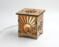 Items similar to Laser Cut Wood Lamp on Etsy Laser Cut Lamps, Laser Cut Wood, Laser Cutting, Laser Cutter Ideas, Laser Cutter Projects, Creative Studio, Creative Lamps, Chandeliers, Laser Art