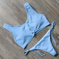 New Tank Top Style Tie Front Brazilian Cheeky Bikini White/Light Blue