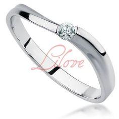 Złoty pierścionek zaręczynowy z brylantem Lilove Diamonds
