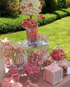 No photo description available. Candy Bar Party, Candy Table, Dessert Table, Candy Buffet Tables, Pink Parties, Birthday Parties, Bar A Bonbon, Candy Cart, Bridal Shower