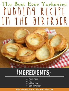 Welcome to the best ever Yorkshire Pudding Recipe in the Airfryer. I grew up in Yorkshire. I lived there from being a toddler until I was 22 years old. It is also where I met my husband and where our… Yorkshire Pudding Batter, Yorkshire Pudding Recipes, Air Fry Everything, Steak And Mashed Potatoes, Baked Potatoes, Actifry Recipes, Def Not, Gourmet Recipes, Savoury Recipes
