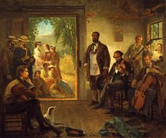 The Musicale, Barber Shop, Trenton Falls, New York. 1866, Thomas Hicks. | In the…