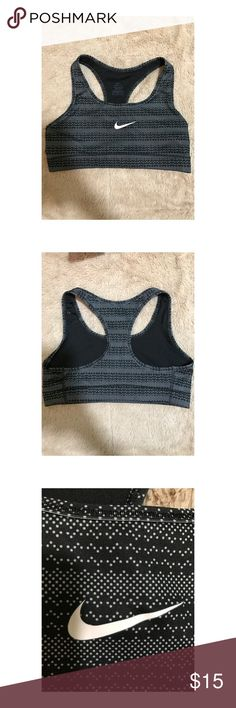 NIKE BLACK/GREY SPORTS BRA Barely worn and in great condition! Nike sports bra with a super cool black/grey pattern! Size S. Nike Intimates & Sleepwear Bras