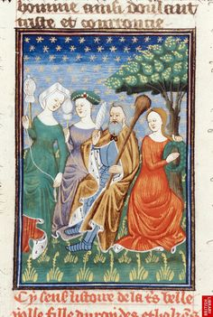 Miniature of Hercules seated among Iole's women, spinning.French translation of Boccaccio's work on famous women (Rouen, Royal MS 16 GV, Giovanni Boccaccio. De claris mulieribus in an anonymous French translation (Le livre de femmes nobles et renomées) Medieval World, Medieval Art, Medieval Fashion, Medieval Clothing, Medieval Manuscript, Illuminated Manuscript, British Library, Spinning Wool, Spinning Wheels