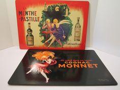 Vintage Poster Board Prints of Leonette Capiello - La Menthe Pastille/ Cognac Monnet/Art Reproductions Hard Cork Back/CHOICE Buy 1 or Buy 2 by VKVDesigns on Etsy