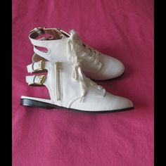Spotted while shopping on Poshmark: NWT Fancy Ivory Cut Out Booties W/Zipper & Lace Up! #poshmark #fashion #shopping #style #Shoes