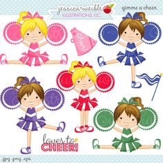 Gimme A CHEER Cute Digital Clipart - Commercial Use OK - Cheerleading Clipart, Cheerleading Graphics, Digital Art on Etsy, $5.00