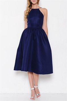Royal Engagement Open Back Midi Dress - Midnight Blue