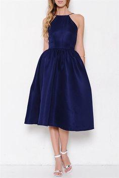 Royal Engagement Open Back Midi Dress - Midnight Blue