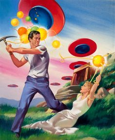 HAROLD W. McCAULEY - art for The Buttoned Sky by Geoff St. Reynard - Aug 1953 Imagination, Stories of Science and Fantasy