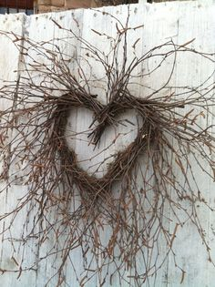 Birch Twig Heart Wreath Natural Birch Branch by marigoldsdesigns Deco Floral, Arte Floral, Environmental Sculpture, Birch Branches, Deco Nature, Willow Weaving, Wedding Wreaths, I Love Heart, Heart Wreath