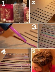 Rainbow colored bobby pins DIY - quick and easy way to add some ...