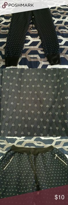 Cute dark blue heart sweat pants These are dark blue sweat pants only wore twice so they are in excellent condition Indero Pants Track Pants & Joggers