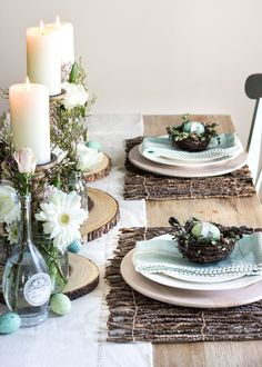 Spring and Easter Tablescapes - Rustic Easter Table Decorations, Decoration Table, Easter Decor, Easter Dinner, Easter Party, Buffet Design, Farmhouse Side Table, Deco Table, Easter Crafts