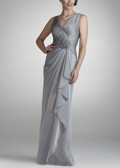 Long Chiffon Dress with Beading and Flower Detail