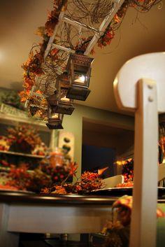 Savvy Seasons by Liz: Vintage Ladder Hanging Above My Dining Room Table (VIDEO Below