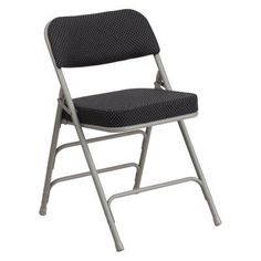 Flash Furniture AW-MC320AF Hercules Premium Fabric Upholstered Metal Folding Chair Black - AW-MC320AF-BK-GG