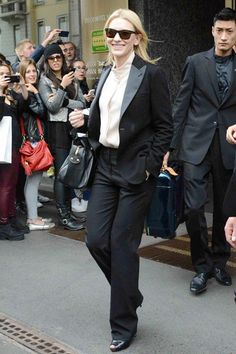 Milan, May 19 2013  Cate Blanchett left her hotel in a black suit and ivory blouse.