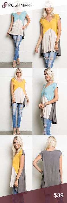 EVERLY color block tunic top - 3 colors Color block, v-neck, sleeveless top that is soft, comfortable, easy to pullover and was made with a rayon spandex. AVAILABLE  YELLOW & BLUE MIX (only L) & magenta (all sizes)   Fabric 95% Rayon 5% Spandex Made in U.S.A Bellanblue Tops Blouses
