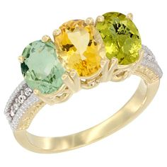 14K Yellow Gold Natural Green Amethyst, Citrine & Lemon Quartz Ring 3-Stone 7x5 mm Oval Diamond Accent, size 6.5, Women's